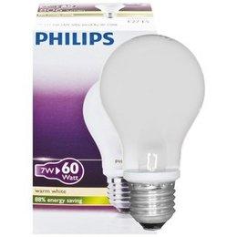 Philips Classique LEDbulb 7-60W E27 A60 Blanc Chaud Mat