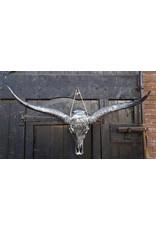 Longhoorn gegraveerd 1 meter breed zilver