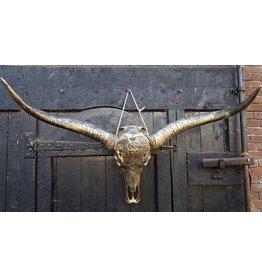 Longhoorn gegraveerd 1 meter breed brons