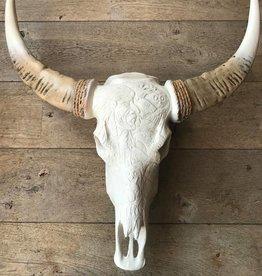 Skull gegraveerd met witte uiteinden 68cm x 80 cm