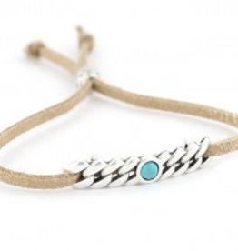 Love Ibiza Suede armbandje met een silver plated schuifbedel en kraaltjes