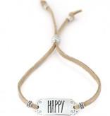 Love Ibiza Suedine armbandje met een silver plated schuifbedel en kraaltjes