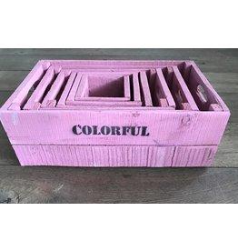 Set van 6 kisten roze