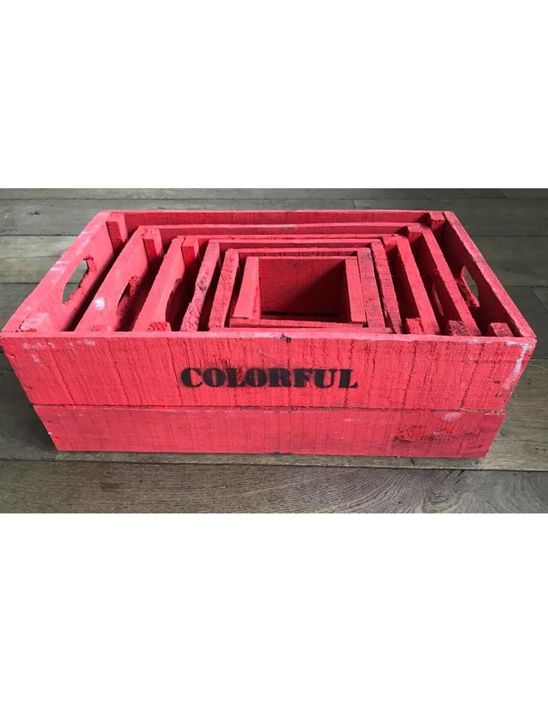 Set of boxes 6 brick-red