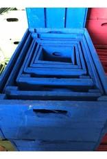 Set van 6 kisten kobaltblauw
