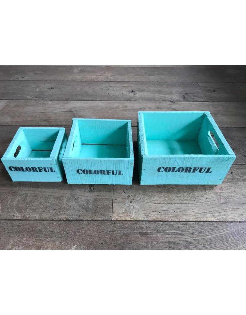 Set van 3 kleine kisten turqoise