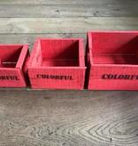 Set van 3 kleine kisten rood