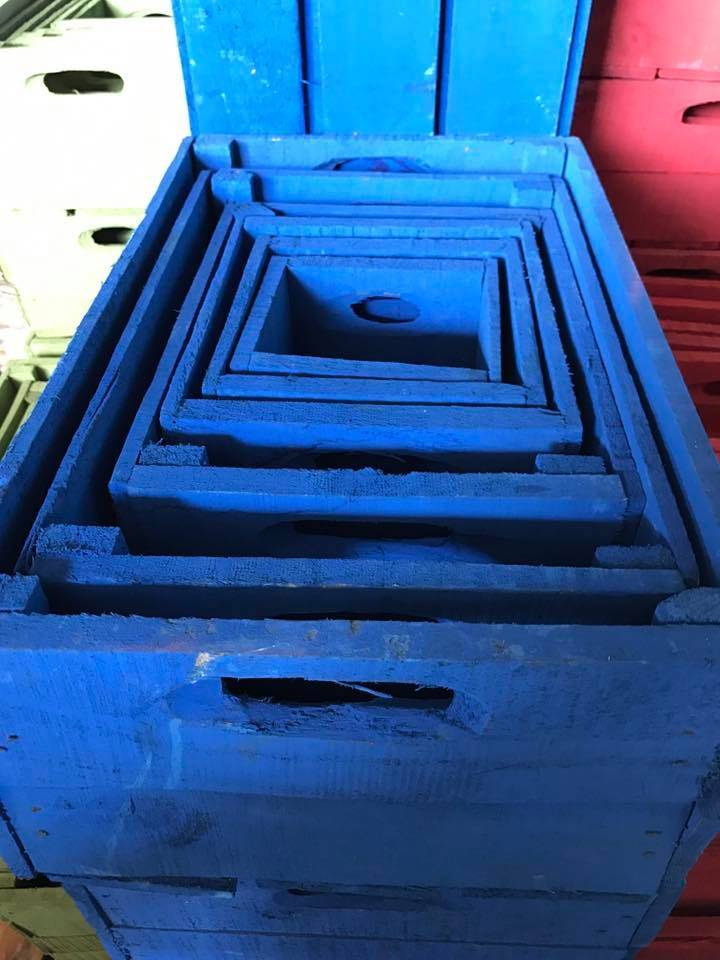 Set van 3 kleine kisten kobaltblauw