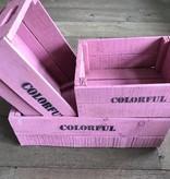 Set van 3 grote kisten roze