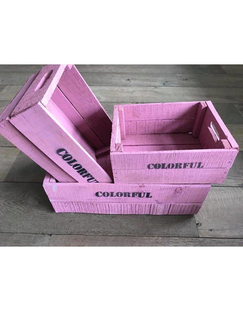 Damn Set van 3 grote kisten roze