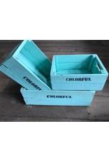 Set of 3 large crates turquoise