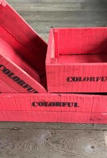 Set of 3 large crates brick-red