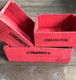 Set of 3 large crates brick-red