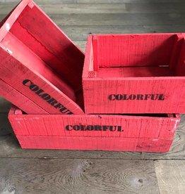 Set van 3 grote kisten steenrood