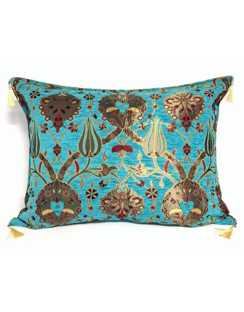 esperanza-deseo Flowers turquoise kussenhoes/cushion cover ± 50x70cm