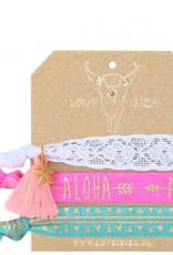 Love Ibiza Aloha Set van 3 armbandjes/haarelastiekjes
