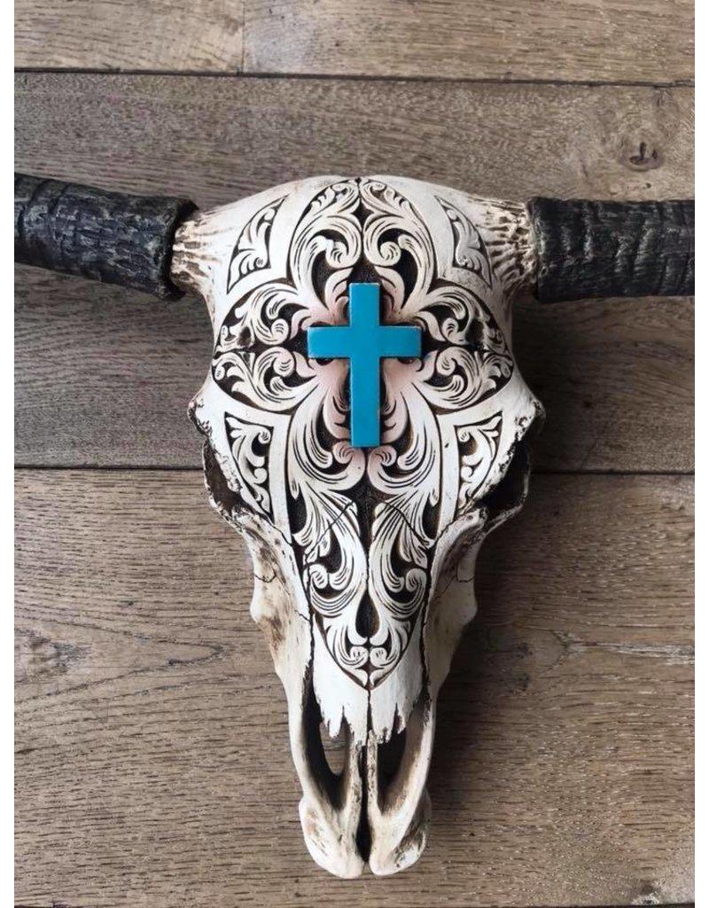 Damn Skull ecru kruis