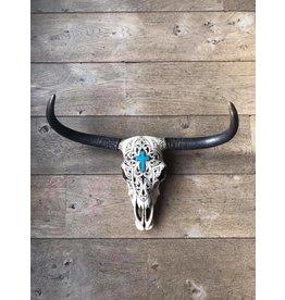 Damn Skull ecru kruis 50 x 40 cm