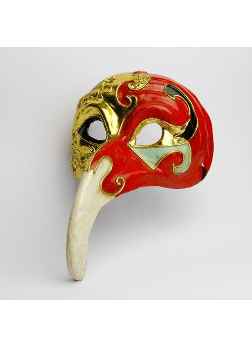 Dokter Pest masker 'Naso Lungo' (goud/rood)