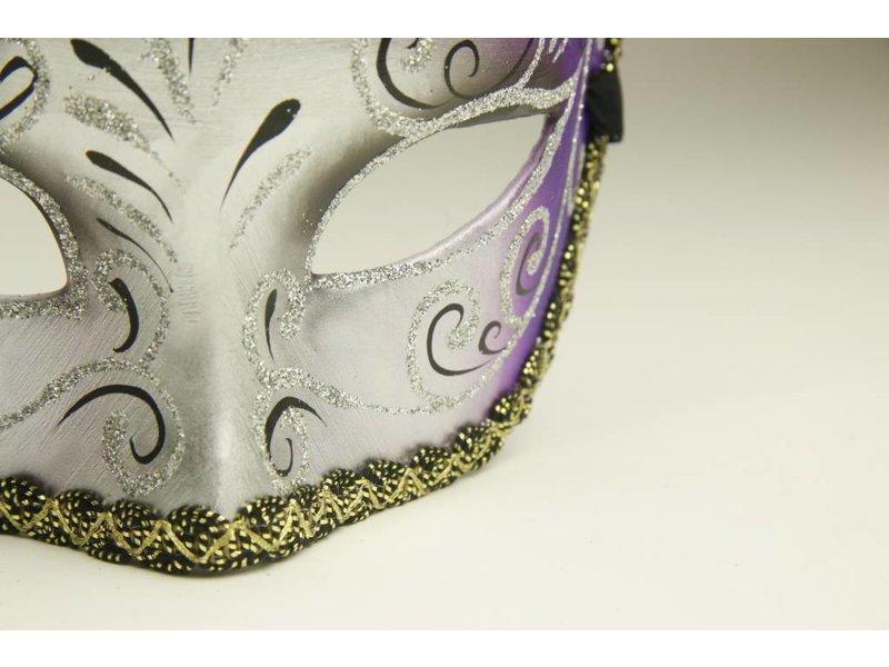 Venetian mask 'Magico' silver and purple