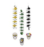 Set 3 Decoratiespiralen Day of the dead dubbelzijdig 3 ass. (60 cm)
