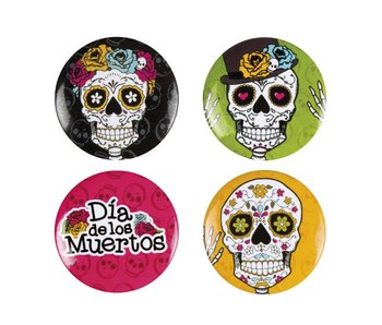 Set 4 Buttons Day of the dead 4 ass. (3 cm)