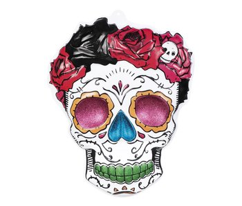 PVC wanddecoratie Mrs Day of the dead (59 x 48 cm) brandvertragend