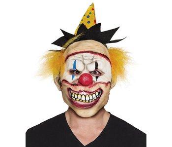 Latex hoofdmasker Freaky clown met hoed en haar