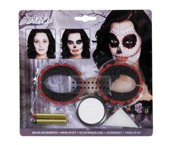 make-up Day of the dead (make-up, 1 spons, 2 oogdecoraties en 1 stickervel met 20 edelstenen)
