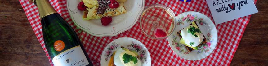 Een champagne ontbijt met Valentijnsdag