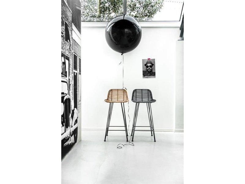 HK-Living Skammel sort rattan stol