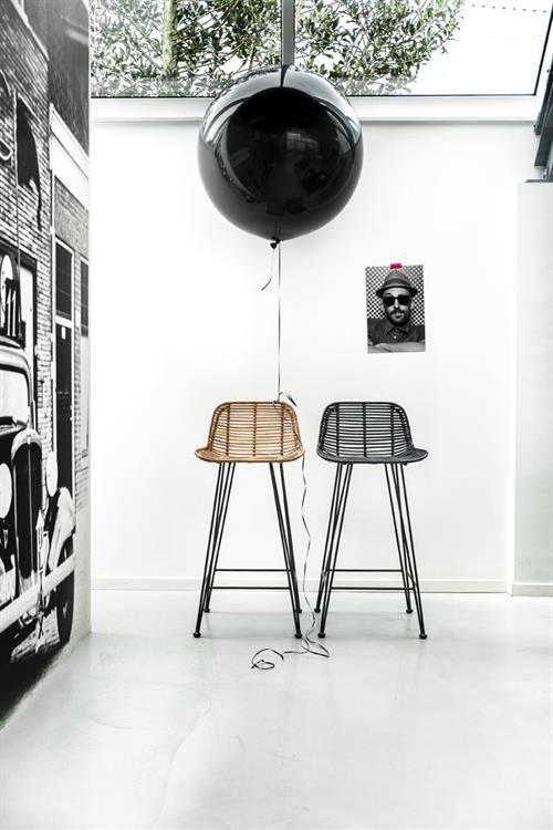 hk living rattan barstool black living and co. Black Bedroom Furniture Sets. Home Design Ideas