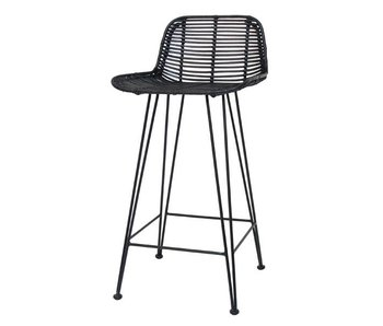 HK-Living Barstool black rattan chair