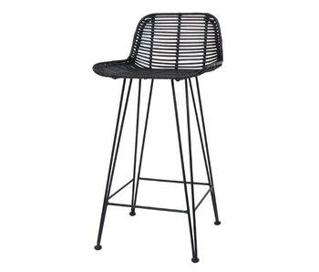 HK-Living Taburete silla de mimbre negro