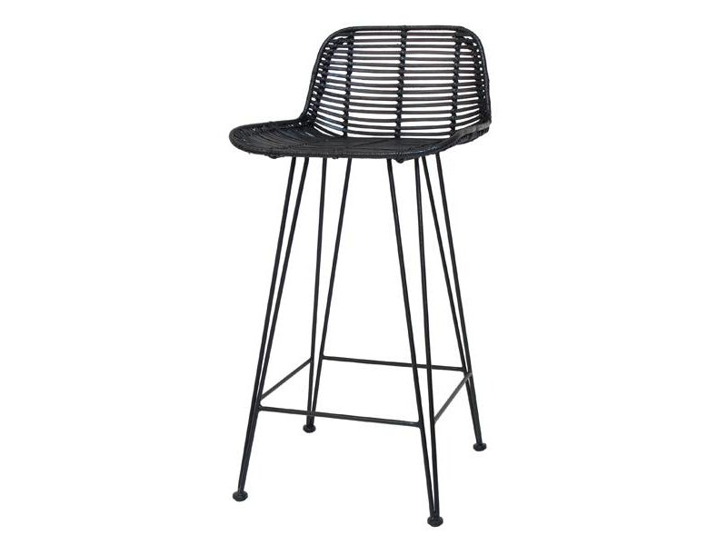 ... HK Living Barstool Black Rattan Chair ...