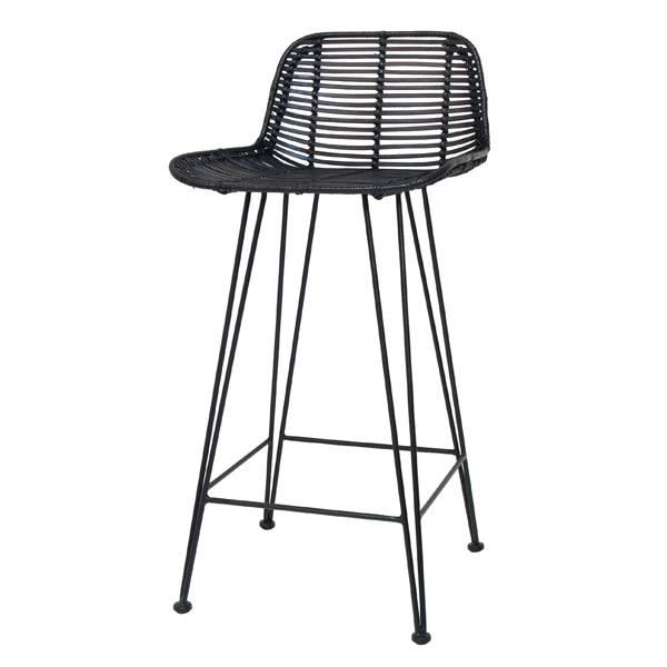 ... HK Living Barstool Black Rattan Chair