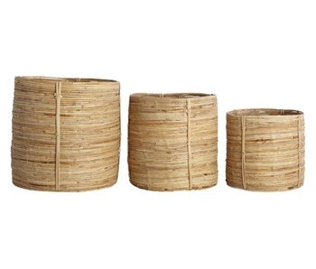 House Doctor Chaka set of 3 rattan baskets round