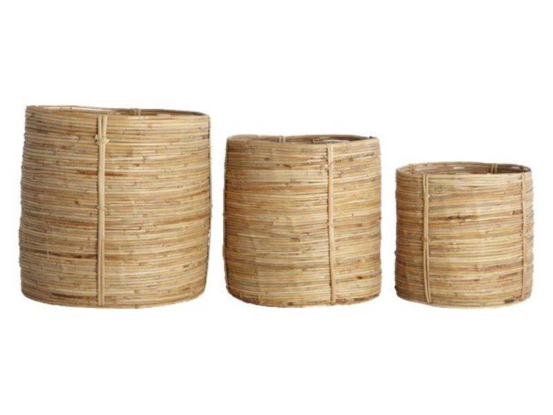 House Doctor Chaka set of 3 rattan baskets round