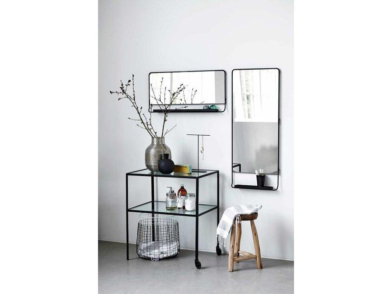 house doctor chic sort spejl med hylde living and co. Black Bedroom Furniture Sets. Home Design Ideas