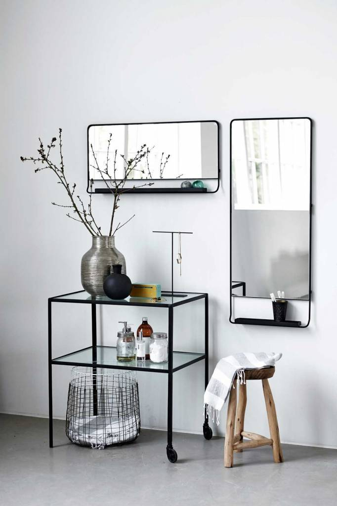 house doctor chic mirror with shelve black living and co. Black Bedroom Furniture Sets. Home Design Ideas