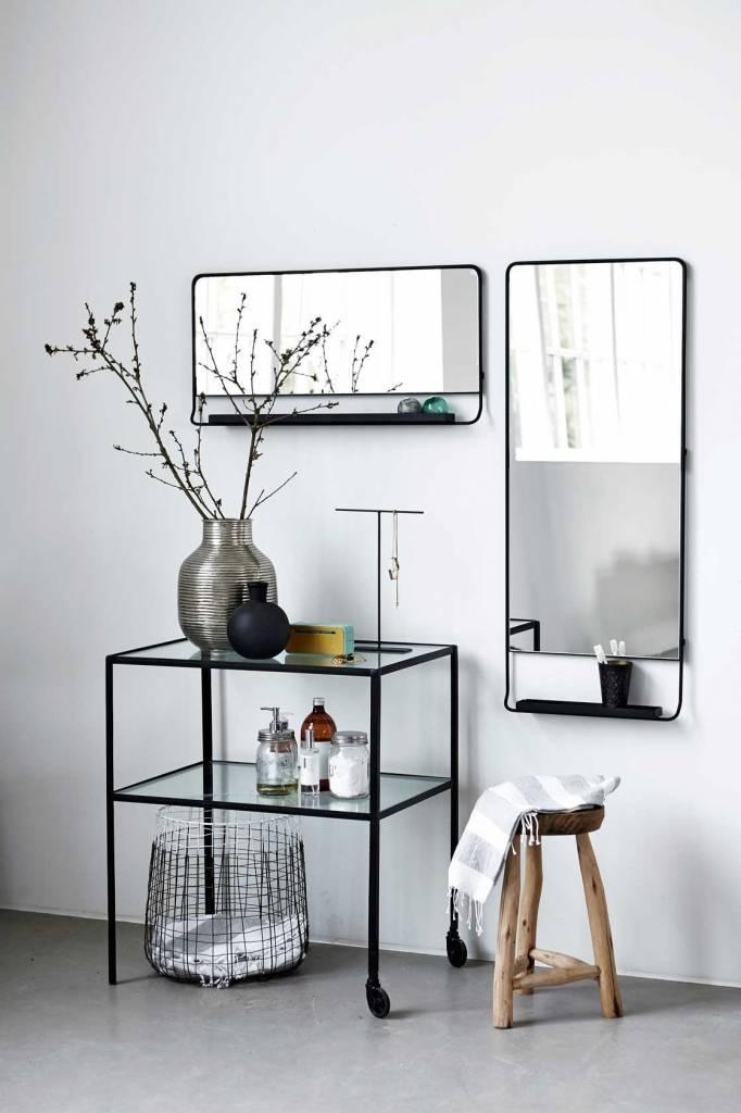 house doctor chic spiegel met plank zwart living and co. Black Bedroom Furniture Sets. Home Design Ideas