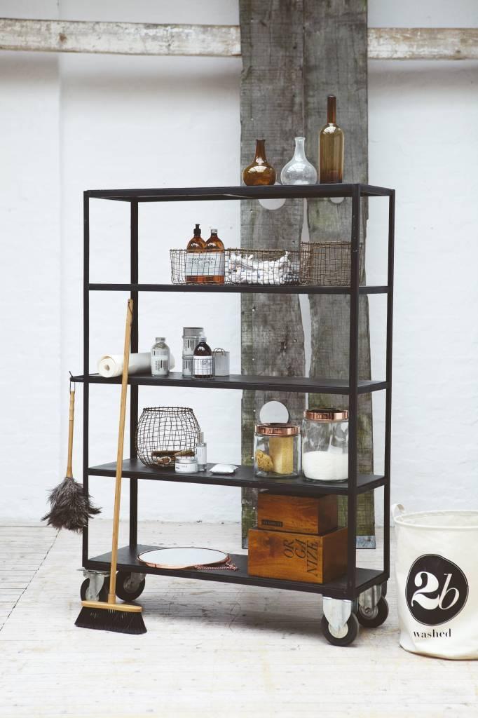 house doctor opbergrek zwart metaal hout living and co. Black Bedroom Furniture Sets. Home Design Ideas