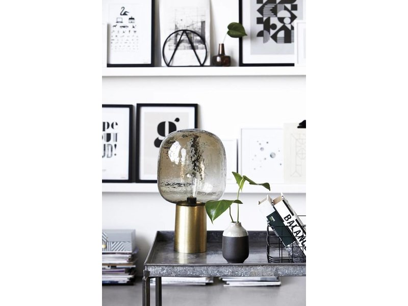 house doctor note table lamp grey glass metal brass living and co. Black Bedroom Furniture Sets. Home Design Ideas