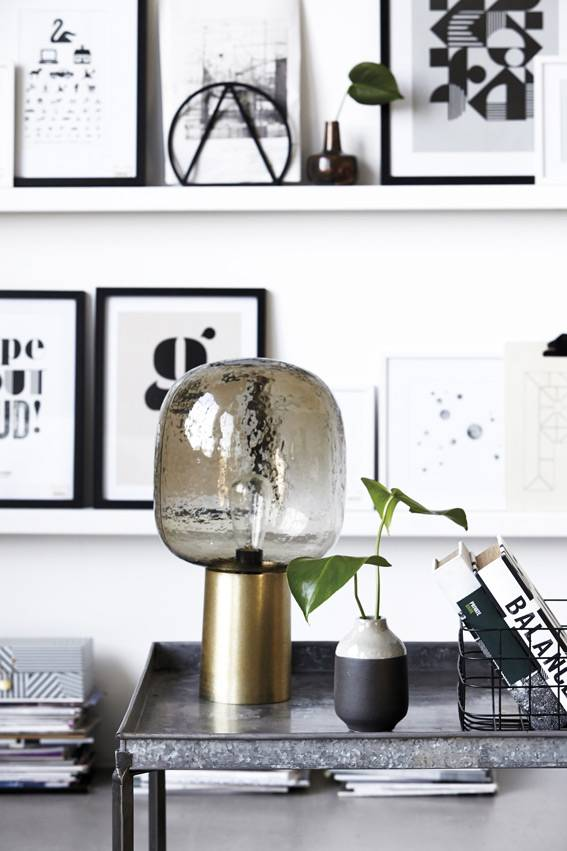 house doctor note table lamp grey glass metal brass living and company. Black Bedroom Furniture Sets. Home Design Ideas