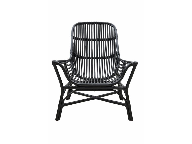 Rattan lounge  House Doctor Colony chair rattan black - LIVING AND CO.