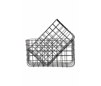 House Doctor Simply set of 2 iron baskets black