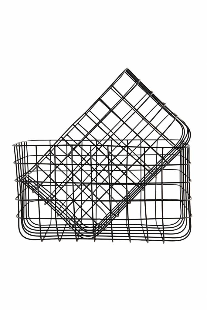 House doctor simply set of 2 iron baskets black living - Panier metal house doctor ...