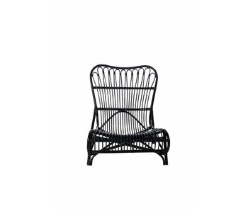 House Doctor Colone rattan lounge chair zwart