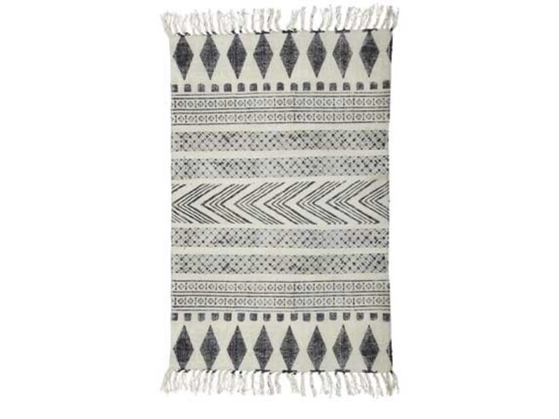 House Doctor Block rug cotton white grey 160x230