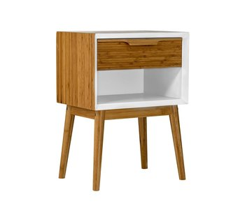 Bloomingville Cabinet white natural wood with drawer
